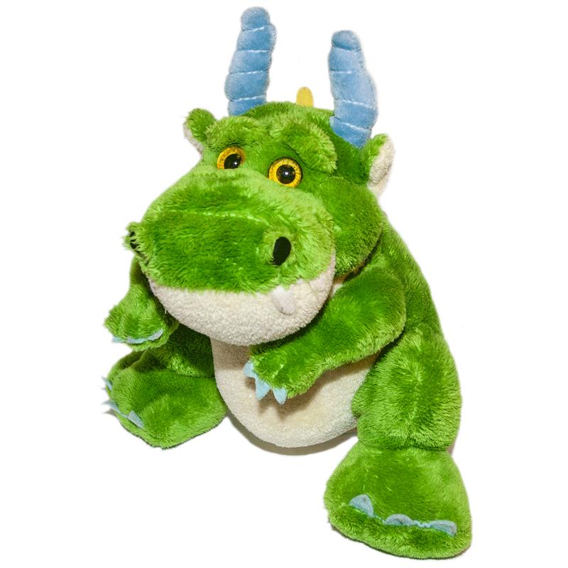 Zöld plüss sárkány elölről