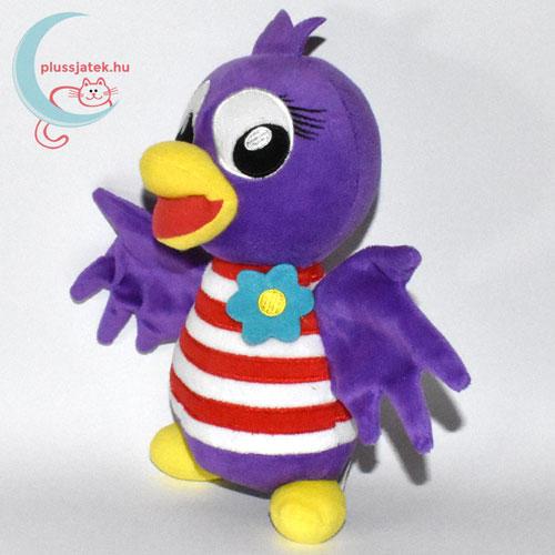 Jet, lila plüss madár csíkos ingben balról