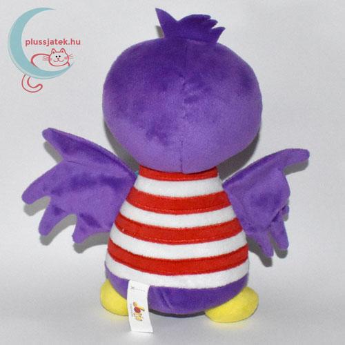 Jet, lila plüss madár csíkos ingben hátulról