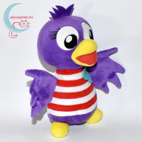 Jet, lila plüss madár csíkos ingben jobbról