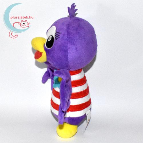 Jet, lila plüss madár csíkos ingben oldalról