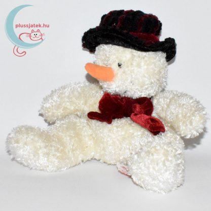 Csokornyakkendős kalapos plüss hóember balról