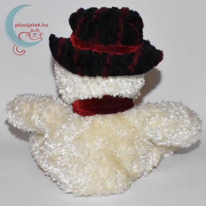 Csokornyakkendős kalapos plüss hóember hátulról