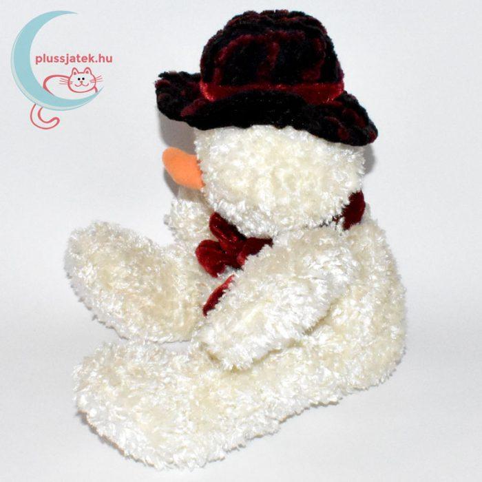 Csokornyakkendős kalapos plüss hóember oldalról