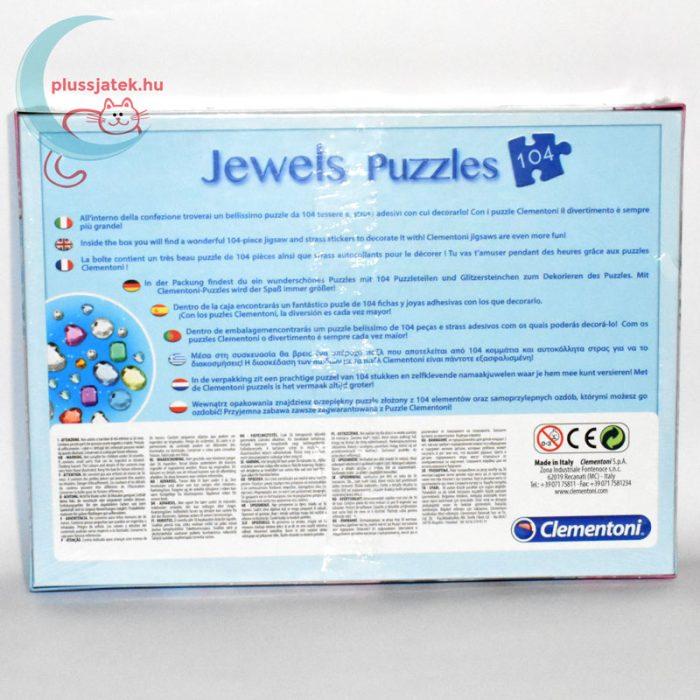 Jégvarázs ékköves 104 darabos puzzle (Frozen Clementoni kirakó) hátulról