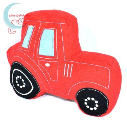 TU piros traktor plüss kispárna