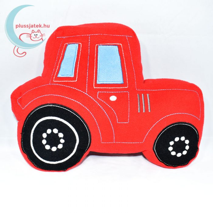 TU piros traktor plüss kispárna oldalról