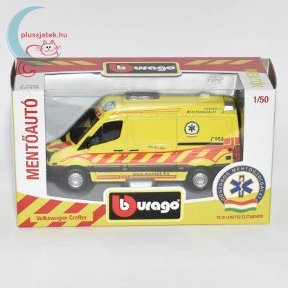 Bburago magyar mentőautó makett esetkocsi (Volkswagen Crafter) csomagolásában