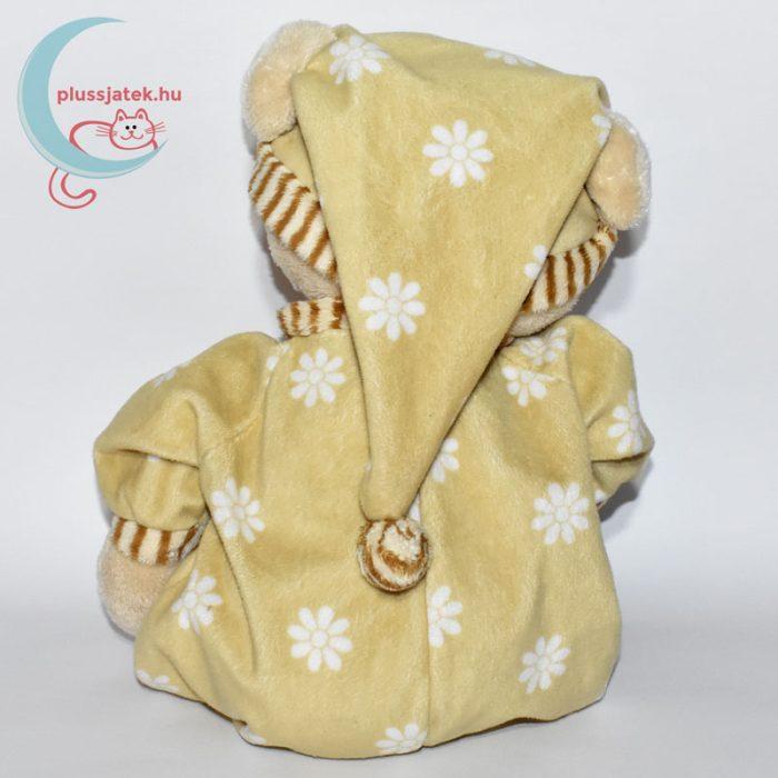 Pizsamás, alvó sapkás plüssmackó hátulról