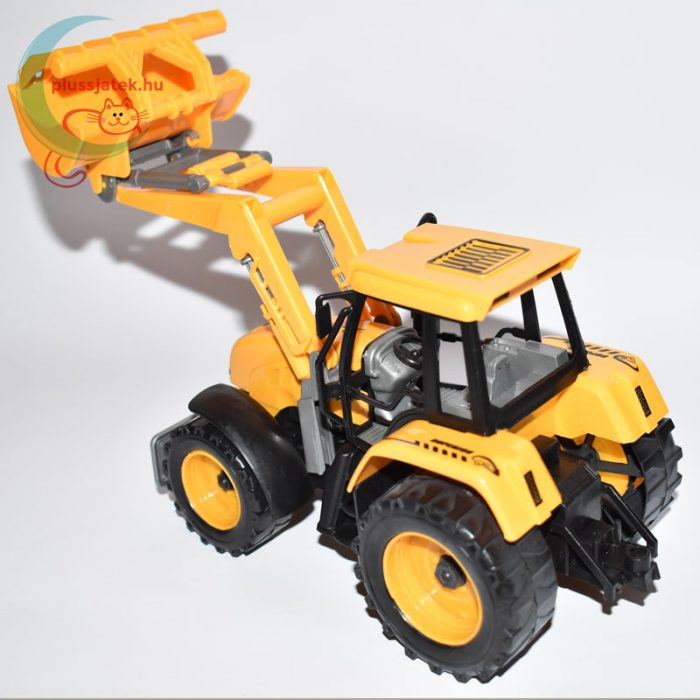 Traktor játék homlokrakodóval balról hátulról
