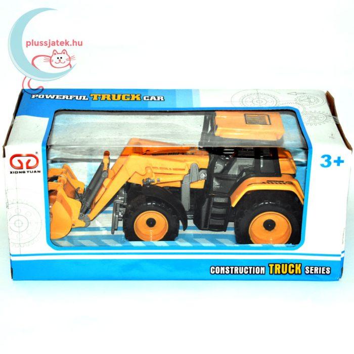 Traktor játék homlokrakodóval dobozban