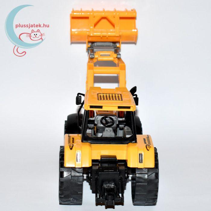 Traktor játék homlokrakodóval hátulról
