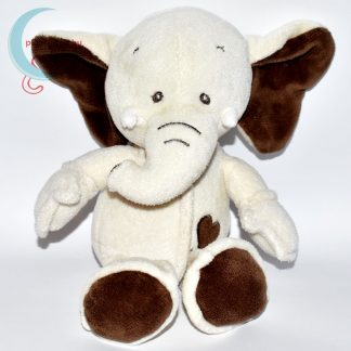 Bézs színű plüss elefánt barna szívvel