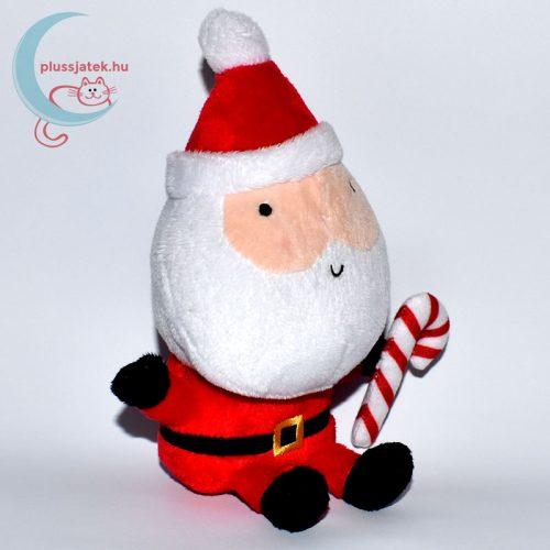Plüss télapó karácsonyi kampó alakú nyalókával balról