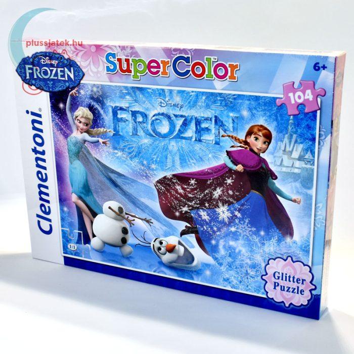 Frozen (Jégvarázs) csillámos puzzle, 104 db - Anna, Elsa, és Olaf balról