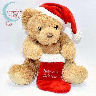 Plüss maci babáknak, karácsonyi zoknival