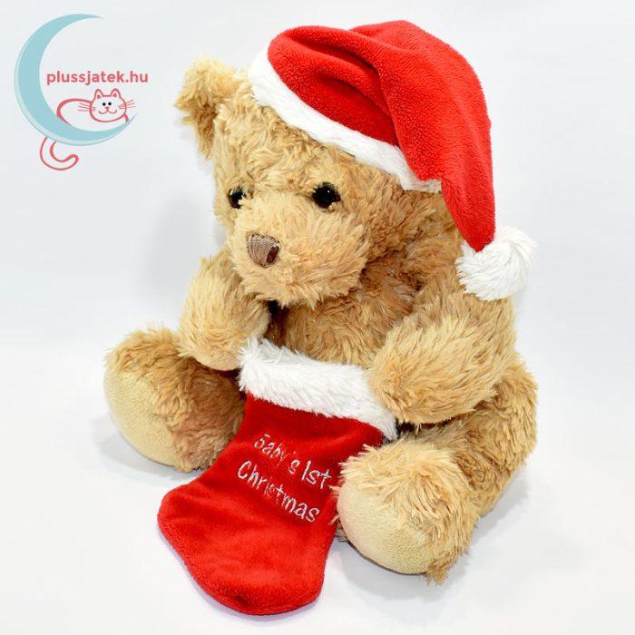 Plüss maci babáknak, karácsonyi zoknival balról