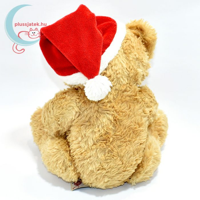 Plüss maci babáknak, karácsonyi zoknival hátulról