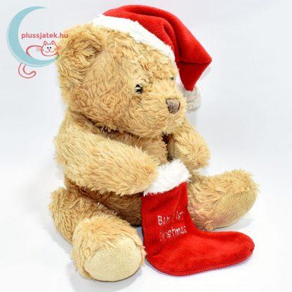 Plüss maci babáknak, karácsonyi zoknival jobbról