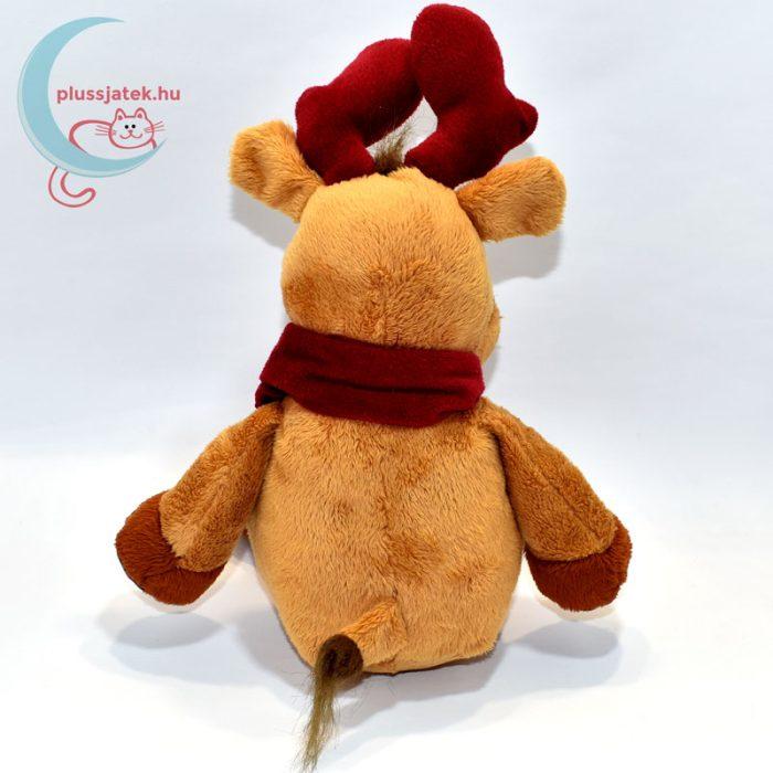 Vörös szarvú plüss rénszarvas vörös sálban hátulról
