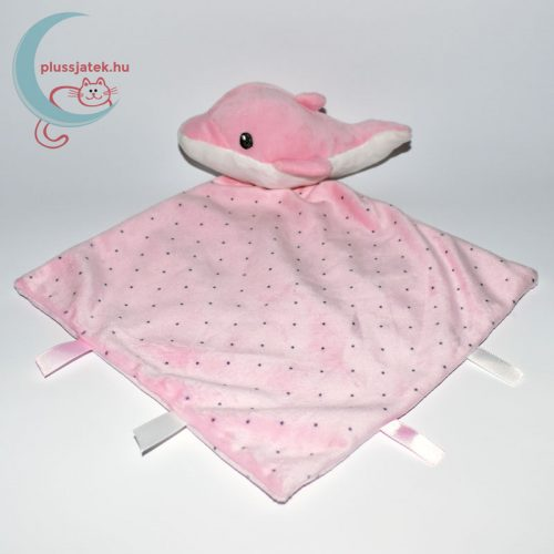 Nicotoy pöttyös szundikendő, delfin plüssfigurával - rózsaszín
