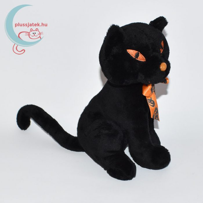 Halloweeni fekete plüss cica jobbról