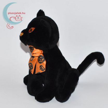Halloweeni fekete plüss cica oldalról