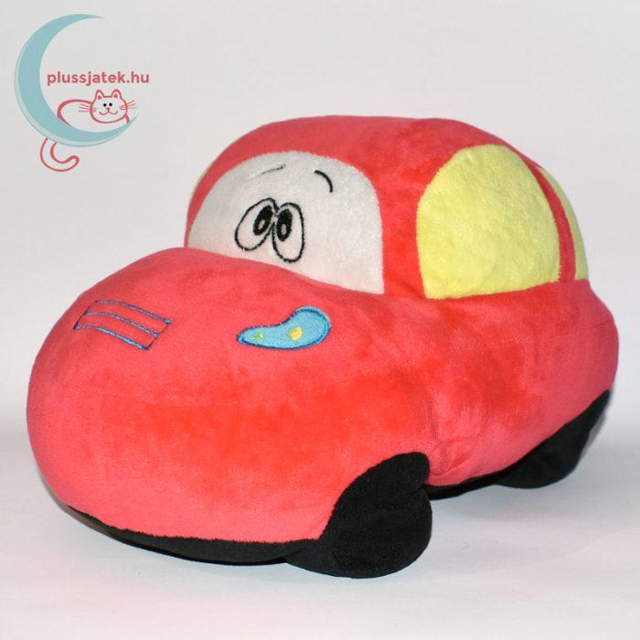 Piros színű plüss autó balról