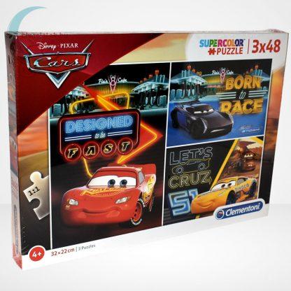 Verdák 3 (Cars) 3x48 db-os Clementoni puzzle (Disney kirakó) fektetve