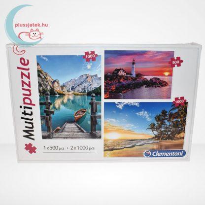 Clementoni Multipuzzle - 3 puzzle az egyben (500 db + 2 x 1000 db: Hegyek, világítótorony, tengerpart)