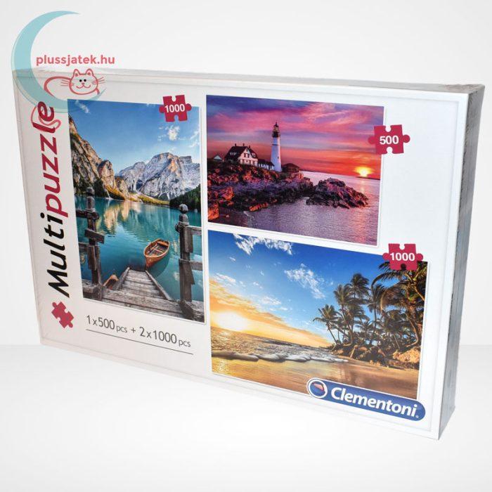 Clementoni Multipuzzle - 3 puzzle az egyben (500 db + 2 x 1000 db: Hegyek, világítótorony, tengerpart), balról