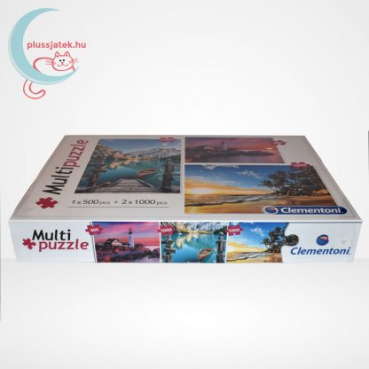 Clementoni Multipuzzle - 3 puzzle az egyben (500 db + 2 x 1000 db: Hegyek, világítótorony, tengerpart), elölről