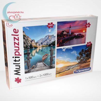 Clementoni Multipuzzle - 3 puzzle az egyben (500 db + 2 x 1000 db: Hegyek, világítótorony, tengerpart), jobbról