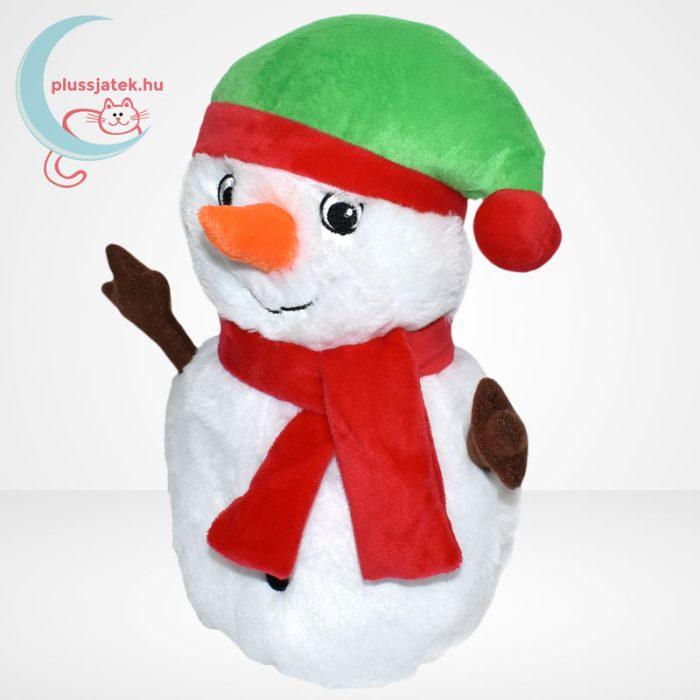Zenélő plüss karácsonyi hóember, balról