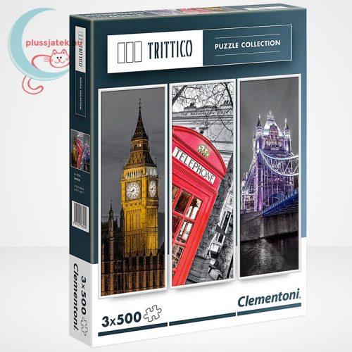 Clementoni 39306 - London (Big Ben, Telefonfülke és Tower Bridge) 3 az 1-ben, 3x500 db-os Trittico Puzzle