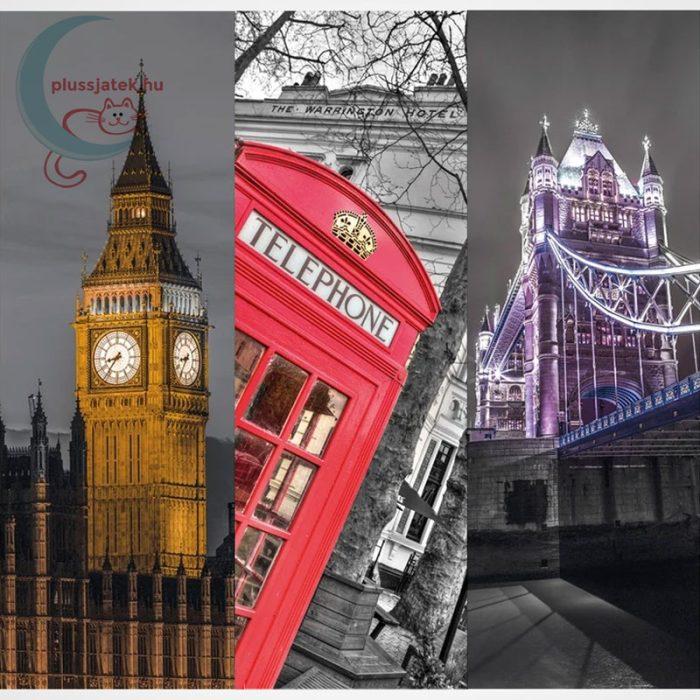 Clementoni 39306 - London (Big Ben, Telefonfülke és Tower Bridge) 3 az 1-ben, 3x500 db-os Trittico Puzzle, a kép