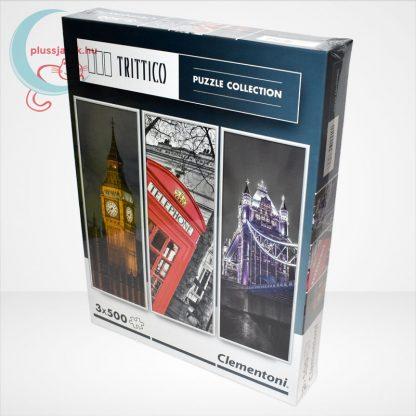 Clementoni 39306 - London (Big Ben, Telefonfülke és Tower Bridge) 3 az 1-ben, 3x500 db-os Trittico Puzzle, balról