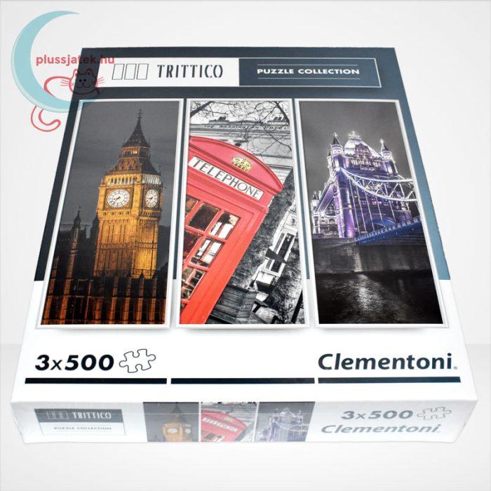 Clementoni 39306 - London (Big Ben, Telefonfülke és Tower Bridge) 3 az 1-ben, 3x500 db-os Trittico Puzzle, oldalról