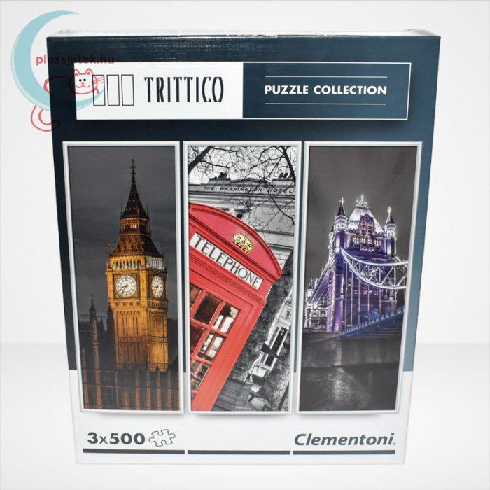 Clementoni 39306 - London (Big Ben, Telefonfülke és Tower Bridge) 3 az 1-ben, 3x500 db-os Trittico Puzzle, szemből