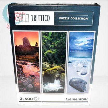 Clementoni 39800 - Természet (Nature) 3 az 1-ben, 3x500 db-os Trittico Puzzle, szemből