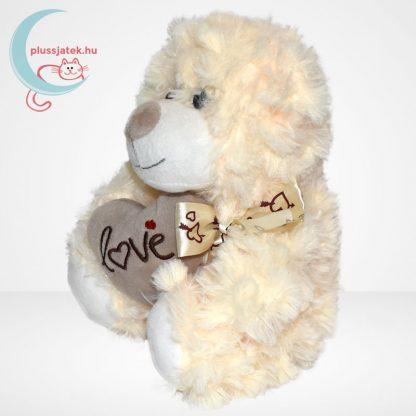 Valentin napi fehér szerelmes maci, plüss szívvel, balról