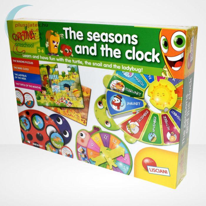 Carotina Preschool - The seasons and the clock (A természet körforgása) 4 az 1-ben angol fejlesztő játék 3-6 éveseknek, balról