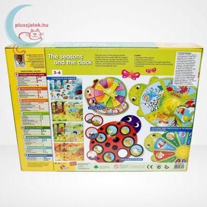 Carotina Preschool - The seasons and the clock (A természet körforgása) 4 az 1-ben angol fejlesztő játék 3-6 éveseknek, hátulról