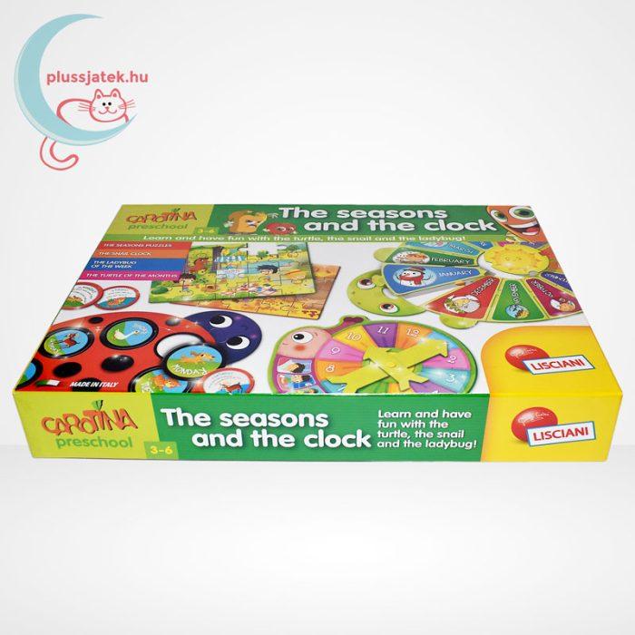 Carotina Preschool - The seasons and the clock (A természet körforgása) 4 az 1-ben angol fejlesztő játék 3-6 éveseknek, oldalról
