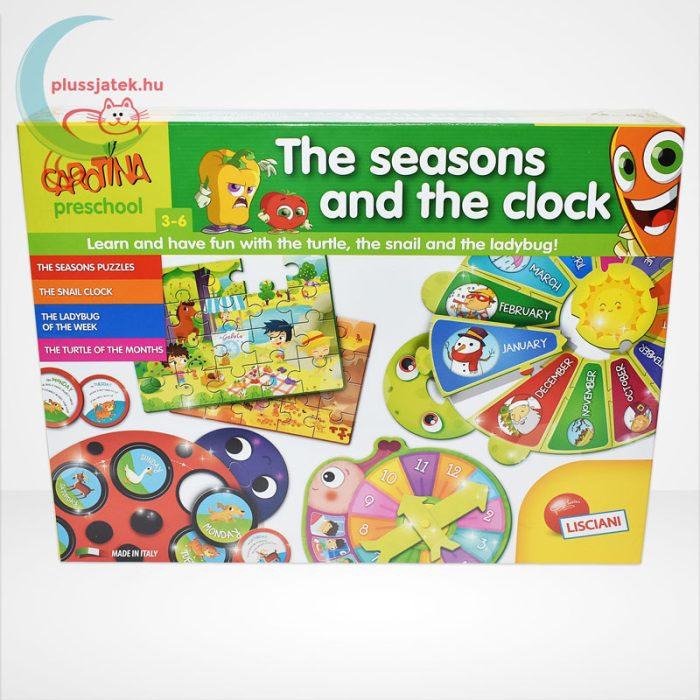 Carotina Preschool - The seasons and the clock (A természet körforgása) 4 az 1-ben angol fejlesztő játék 3-6 éveseknek, szemből