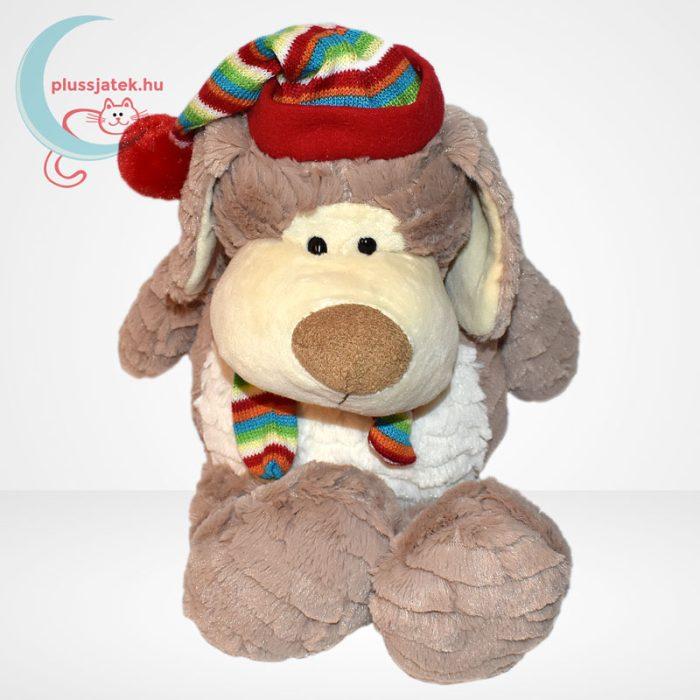 Merry Christmas karácsonyi sapkás-sálas plüss kutya, szemből