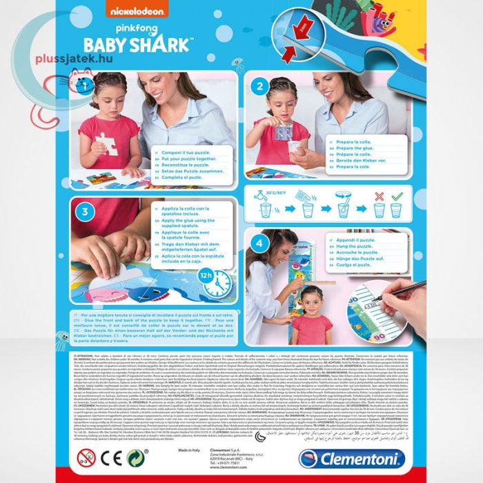 Baby Shark: Mérj meg! magasságmérő 30 db-os Clementoni puzzle (20340), a doboz hátulról