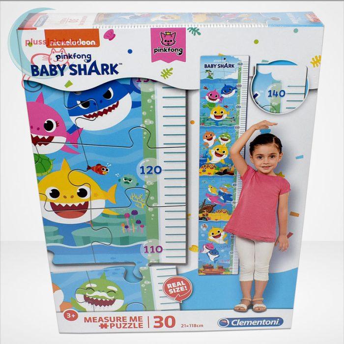 Baby Shark: Mérj meg! magasságmérő 30 db-os Clementoni puzzle (20340), szemből
