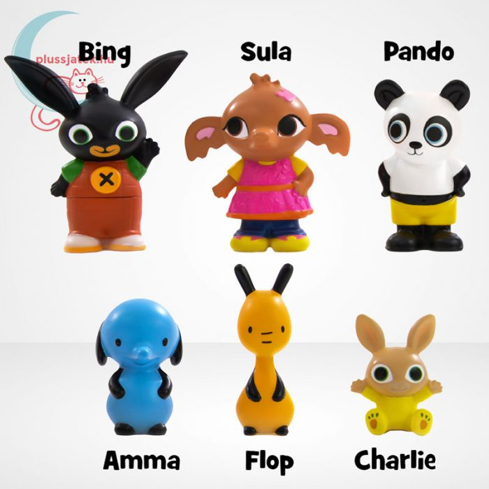 Bing és barátai 6 db-os műanyag figura szett díszdobozban, szereplők és neveik