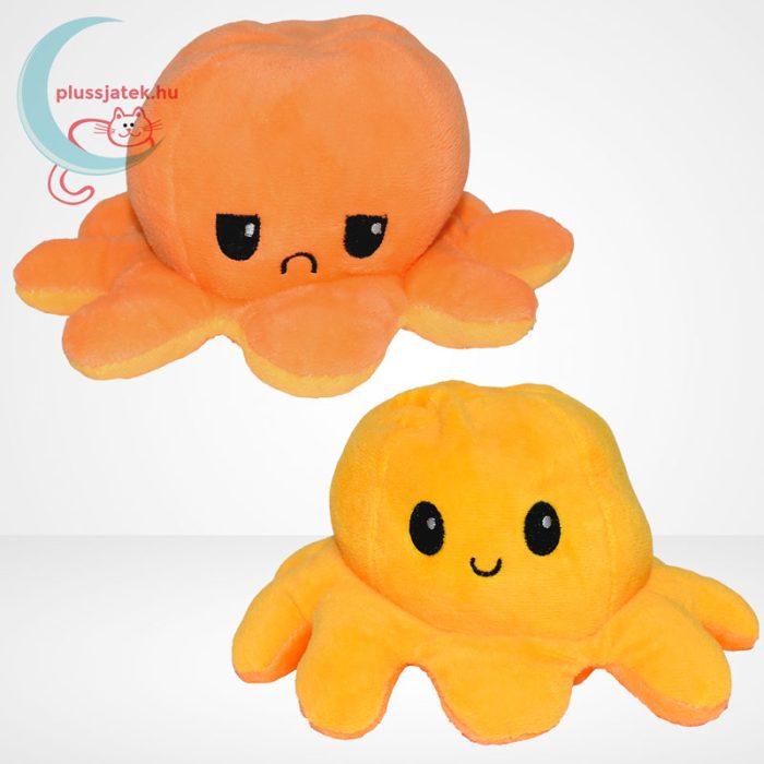Kifordítható plüss hangulat polip (10 cm) - narancs és sárga színű